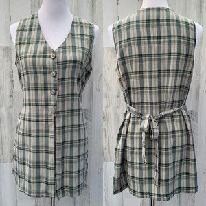 Vintage 90s Green Plaid Grunge Split Hem Tunic Top